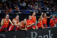 Spaanse spelers die de overwinning vieren tegen CANADA stock afbeeldingen