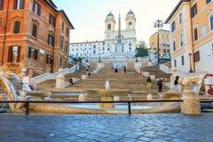 Spaanse Stappen bij ochtend in Rome royalty-vrije stock foto's