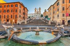 Spaanse Stappen bij ochtend, Rome Royalty-vrije Stock Afbeeldingen