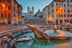 Spaanse Stappen bij schemer, Rome Royalty-vrije Stock Foto