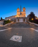 Spaanse Stappen en Trinita del Monti Church in de Ochtend, Rome, Stock Afbeeldingen