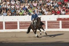 Spaanse stierenvechter op horseback bullfi van Pablo Hermoso de Mendoza Stock Afbeeldingen