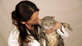 Spaanse veterinaire holdingskat stock footage