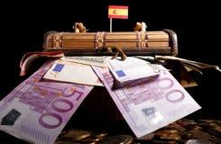 Spaanse vlag bovenop krat royalty-vrije stock afbeelding