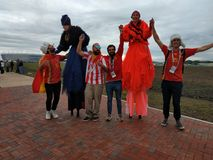 Spaanse voetbalventilators in Kaliningrad Royalty-vrije Stock Afbeelding