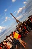 Spaanse voetbalventilators in Parijs stock foto