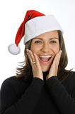 Spaanse Vrouw die een Hoed van Kerstmis draagt Stock Afbeelding