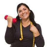Spaanse Vrouw met de Opheffende Domoor van het Meetlint Stock Foto
