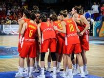 Spaanse vrouwelijke spelers tijdens basketbalgelijke stock fotografie