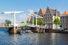 Spaarne bridge and old brewery, Haarlem, Netherlands Royalty Free Stock Photography
