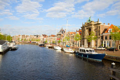 Spaarne river and old Haarlem Stock Image