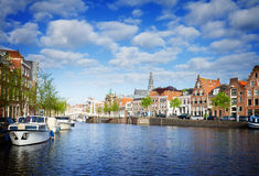 Spaarne river and old Haarlem Royalty Free Stock Photo