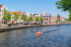 Spaarne river waterfront houses, Haarlem, Netherlands Royalty Free Stock Image