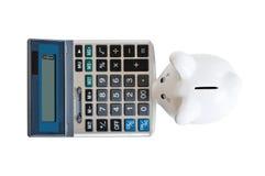 Spaarvarken & calculator Royalty-vrije Stock Foto's