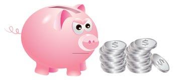 Spaarvarken dat niet zeer gelukkig met zilveren muntstukken is Royalty-vrije Stock Foto's