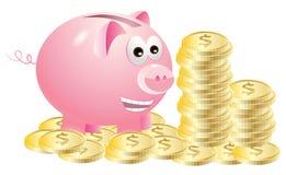 Spaarvarken dat van gouden muntstukken geniet Royalty-vrije Stock Afbeeldingen