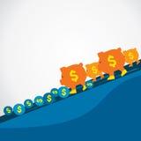 Spaarvarken dat voor sparen het muntstuk wordt geleid vector illustratie