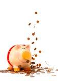 Spaarvarken in de geldregen Royalty-vrije Stock Fotografie