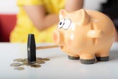 Spaarvarken die hamer zetten op muntstukken stock foto