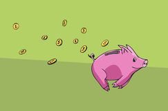 Spaarvarken die weglopen Stock Foto's