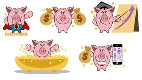 Spaarvarken in diverse actie Reeks van spaarvarken in verschillende situaties Het maken van geldconcept Vector het pictogramreeks vector illustratie
