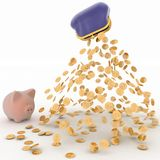 Spaarvarken en Dollar, Financiënconcept Royalty-vrije Stock Foto