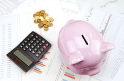 Spaarvarken en een calculator, een stapel van Chinese muntstukken op bedrijfsgrafieken Stock Fotografie