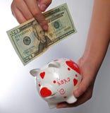 spaarvarken en een rekening $20 Stock Afbeelding