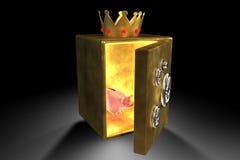 Spaarvarken en gouden brandkast Stock Foto's