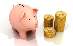 Spaarvarken en gouden muntstukken Royalty-vrije Stock Afbeelding