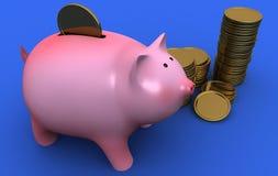 Spaarvarken en gouden muntstukken Royalty-vrije Stock Afbeeldingen