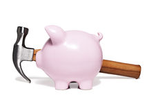 Spaarvarken en hamer Royalty-vrije Stock Foto