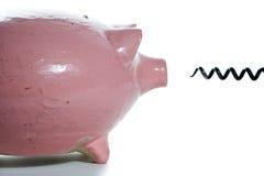 Spaarvarken en kurketrekker Royalty-vrije Stock Foto's
