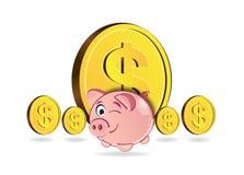 Spaarvarken en muntstukken Royalty-vrije Stock Afbeeldingen