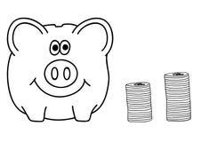 Spaarvarken en Muntstukken Het concept van de economie vector illustratie