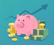 Spaarvarken en stapels van geld stock illustratie