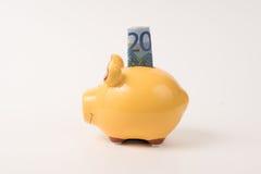 Spaarvarken 20 euro Stock Afbeelding