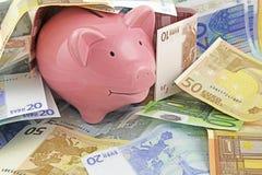 Spaarvarken in geld royalty-vrije stock foto