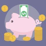 Spaarvarken, geld en financiën Vectorillustratie stock illustratie