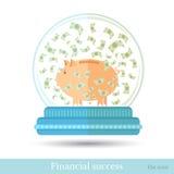 Spaarvarken met bankbiljetten die die rond in snowglobe vliegen op wit wordt geïsoleerd Royalty-vrije Stock Foto