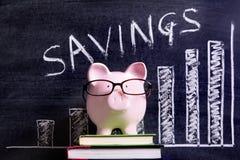 Spaarvarken met besparingengrafiek Stock Afbeelding
