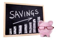 Spaarvarken met besparingengrafiek Royalty-vrije Stock Afbeeldingen