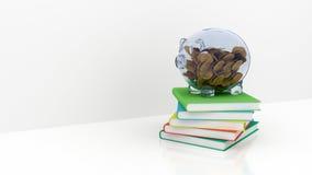 Spaarvarken met boeken Royalty-vrije Stock Afbeelding