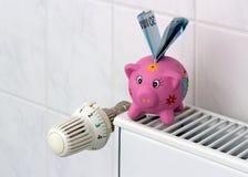 Spaarvarken met de besparingsverwarmingskostennen van de radiatorthermostaat Stock Afbeelding