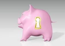 Spaarvarken met een gouden sleutelgat Royalty-vrije Stock Foto