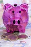 Spaarvarken met Euro bankbiljetten en muntstukken Royalty-vrije Stock Foto