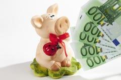 Spaarvarken met Euro op witte achtergrond Royalty-vrije Stock Foto's