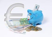 Spaarvarken met euro symbool euro muntstuk en rekening royalty-vrije illustratie