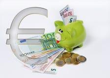 Spaarvarken met euro symbool euro muntstuk en rekening stock illustratie