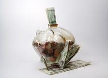 Spaarvarken met Geld Royalty-vrije Stock Foto